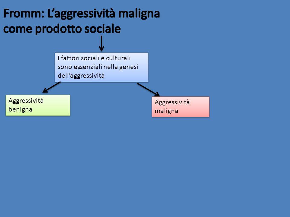 I fattori sociali e culturali sono essenziali nella genesi dellaggressività Aggressività benigna Aggressività maligna