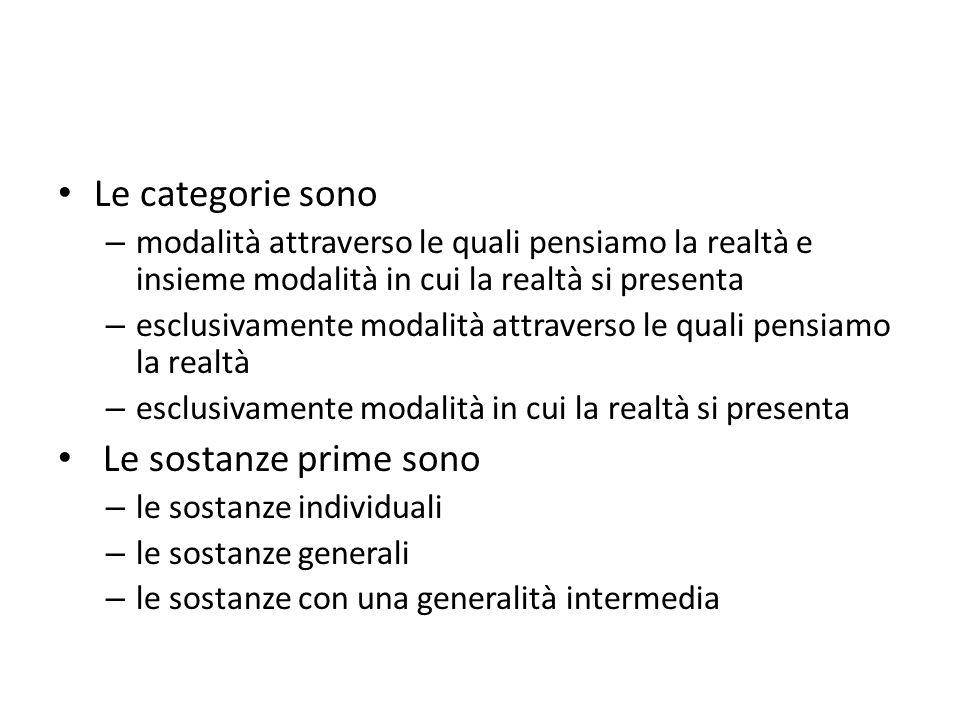 Le categorie Qualunque proposizione può essere scomposta in elementi che hanno ancora un proprio significato (termini senza connessione).