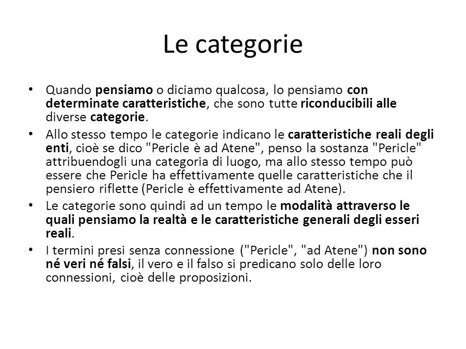 Le categorie Quando pensiamo o diciamo qualcosa, lo pensiamo con determinate caratteristiche, che sono tutte riconducibili alle diverse categorie. All