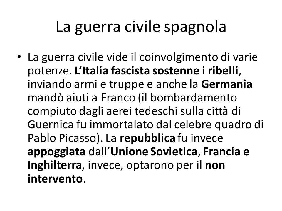 La guerra civile spagnola La guerra civile vide il coinvolgimento di varie potenze. LItalia fascista sostenne i ribelli, inviando armi e truppe e anch