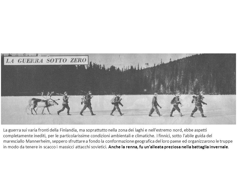 La guerra sui varia fronti della Finlandia, ma soprattutto nella zona dei laghi e nell estremo nord, ebbe aspetti completamente inediti, per le particolarissime condizioni ambientali e climatiche.