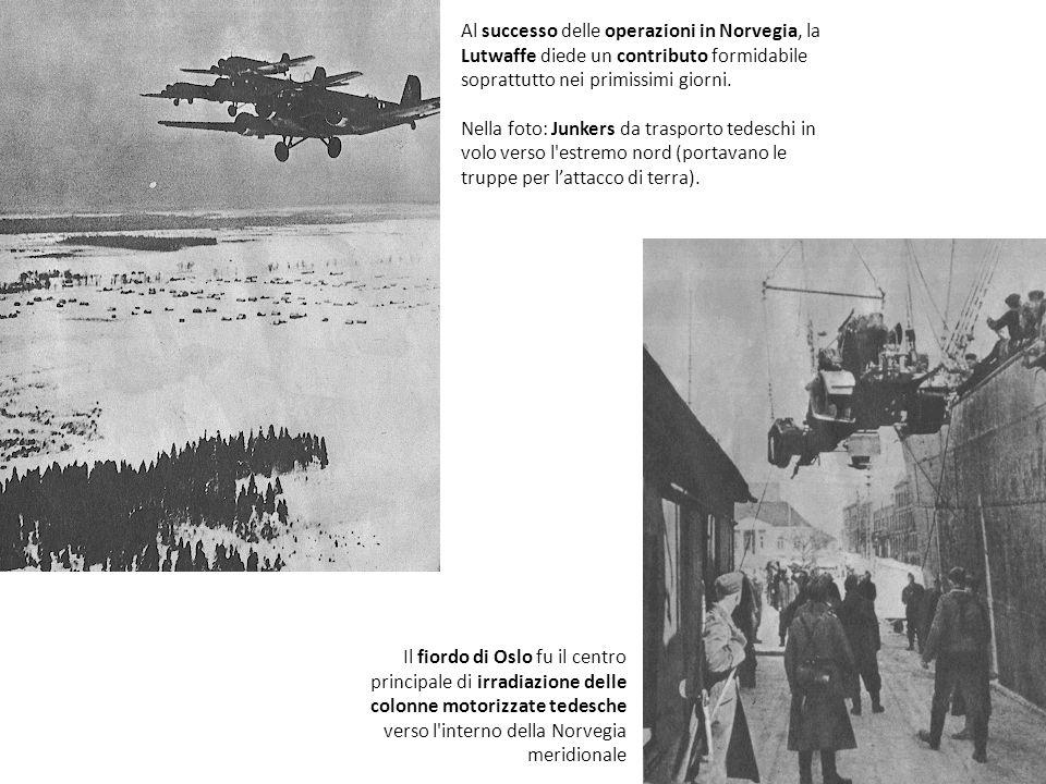 Al successo delle operazioni in Norvegia, la Lutwaffe diede un contributo formidabile soprattutto nei primissimi giorni. Nella foto: Junkers da traspo