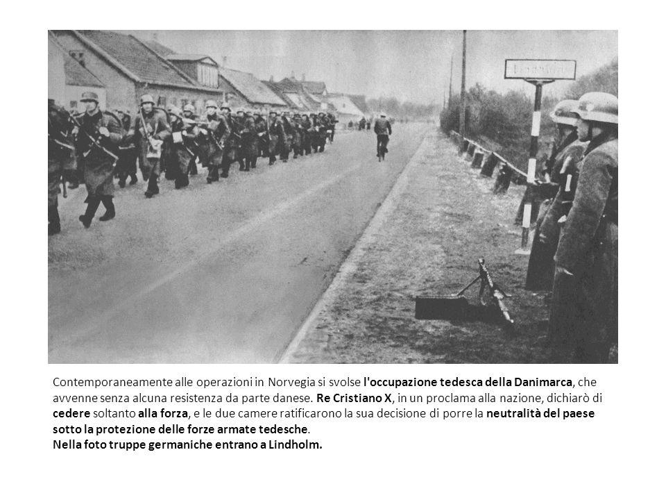 Contemporaneamente alle operazioni in Norvegia si svolse l occupazione tedesca della Danimarca, che avvenne senza alcuna resistenza da parte danese.