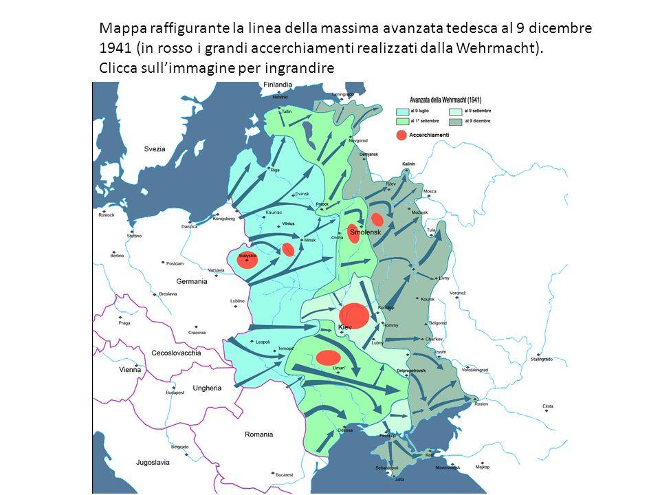 Mappa raffigurante la linea della massima avanzata tedesca al 9 dicembre 1941 (in rosso i grandi accerchiamenti realizzati dalla Wehrmacht).