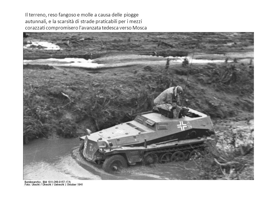 Il terreno, reso fangoso e molle a causa delle piogge autunnali, e la scarsità di strade praticabili per i mezzi corazzati compromisero l'avanzata ted