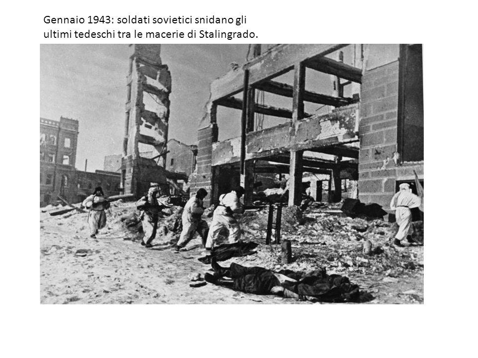 Gennaio 1943: soldati sovietici snidano gli ultimi tedeschi tra le macerie di Stalingrado.