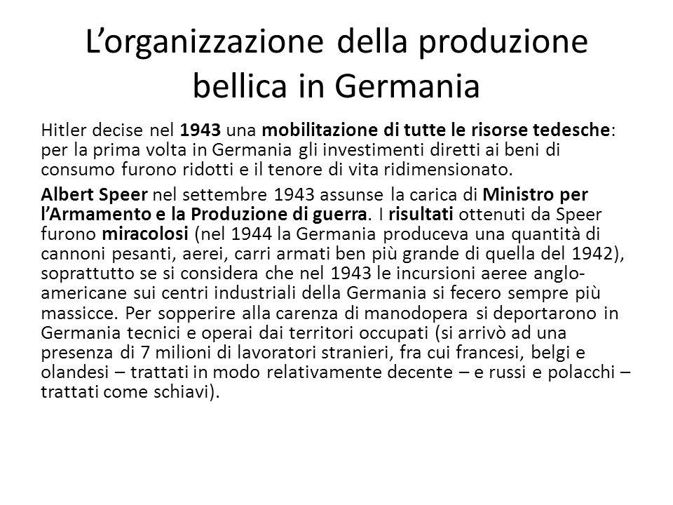 Lorganizzazione della produzione bellica in Germania Hitler decise nel 1943 una mobilitazione di tutte le risorse tedesche: per la prima volta in Germania gli investimenti diretti ai beni di consumo furono ridotti e il tenore di vita ridimensionato.