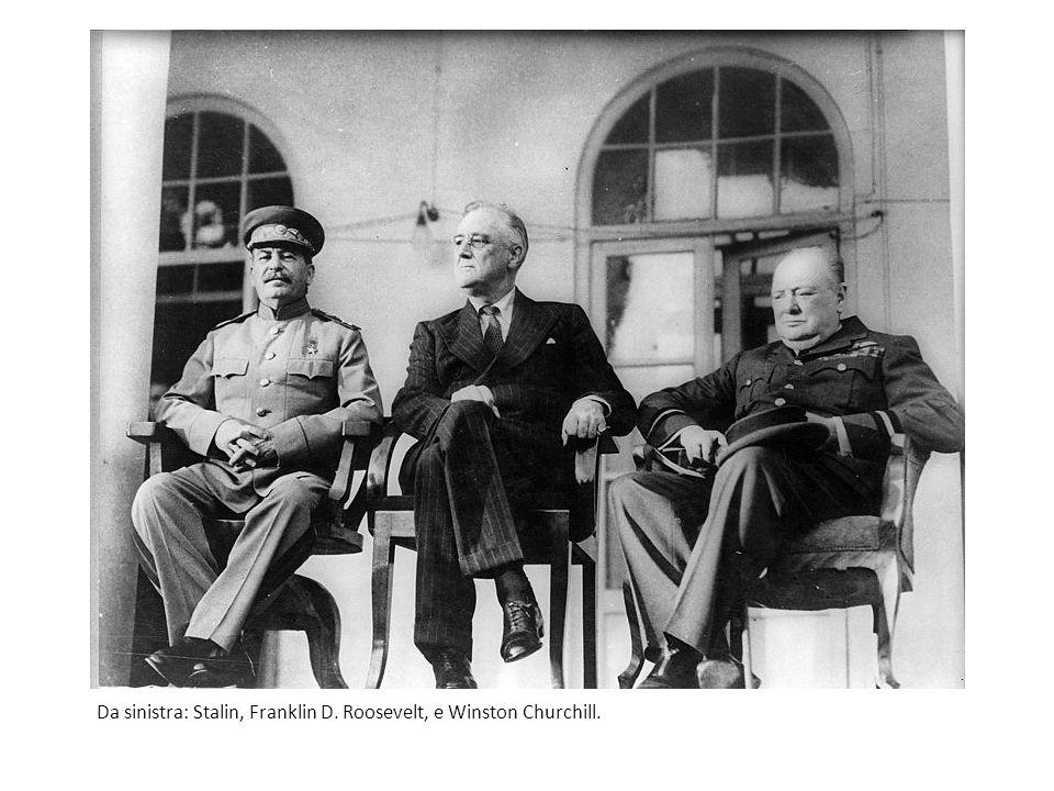 Da sinistra: Stalin, Franklin D. Roosevelt, e Winston Churchill.