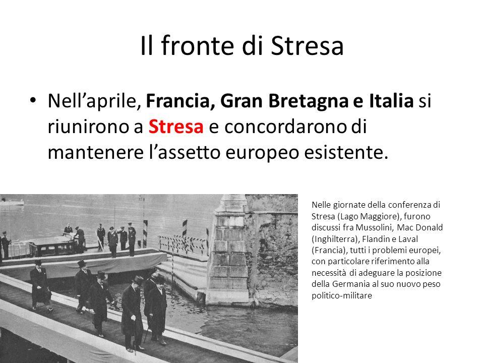 Il fronte di Stresa Nellaprile, Francia, Gran Bretagna e Italia si riunirono a Stresa e concordarono di mantenere lassetto europeo esistente. Nelle gi