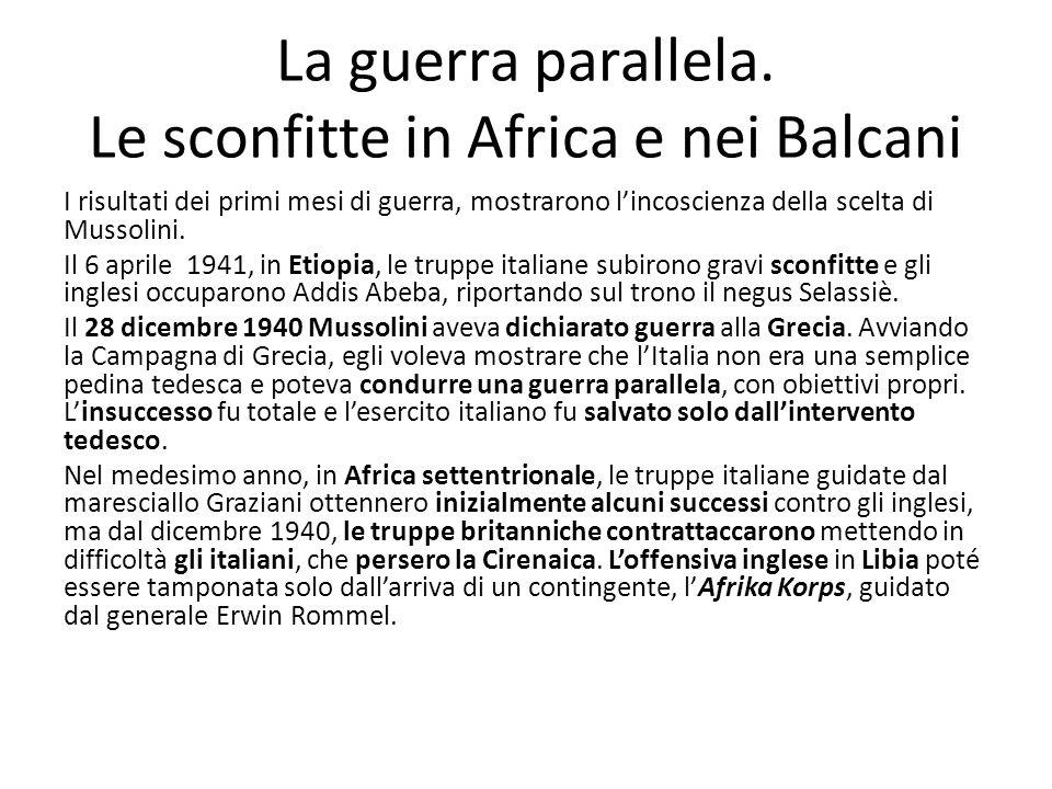 La guerra parallela. Le sconfitte in Africa e nei Balcani I risultati dei primi mesi di guerra, mostrarono lincoscienza della scelta di Mussolini. Il