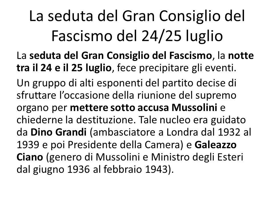 La seduta del Gran Consiglio del Fascismo del 24/25 luglio La seduta del Gran Consiglio del Fascismo, la notte tra il 24 e il 25 luglio, fece precipitare gli eventi.