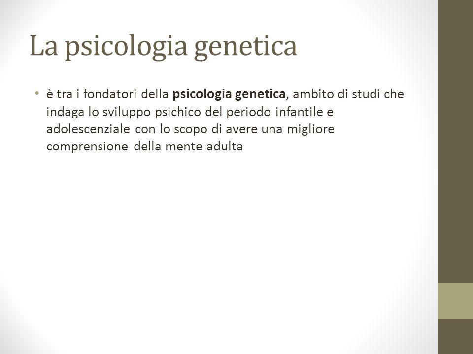 La psicologia genetica è tra i fondatori della psicologia genetica, ambito di studi che indaga lo sviluppo psichico del periodo infantile e adolescenz