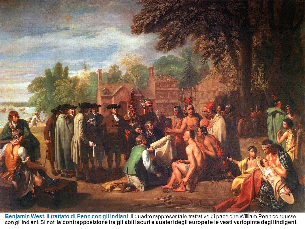 Benjamin West, Il trattato di Penn con gli indiani. Il quadro rappresenta le trattative di pace che William Penn condusse con gli indiani. Si noti la