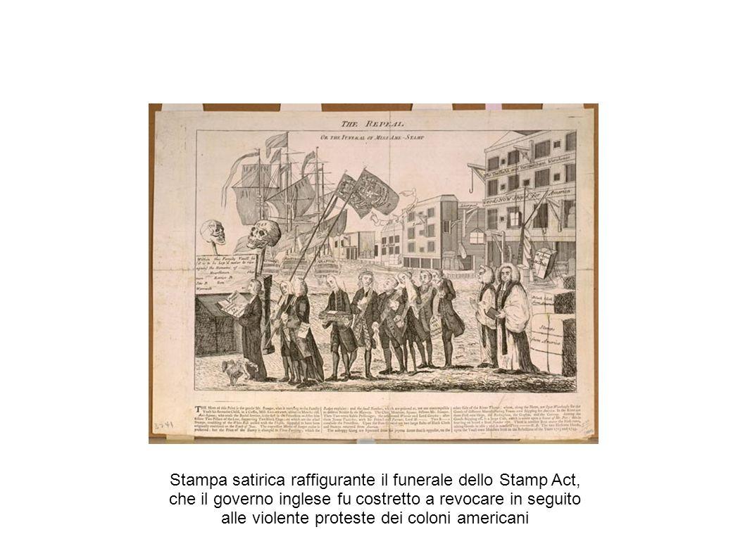 La proclamazione dell indipendenza A partire dal 1769-1770 i coloni cominciarono a fabbricare in America manufatti proibiti (es.