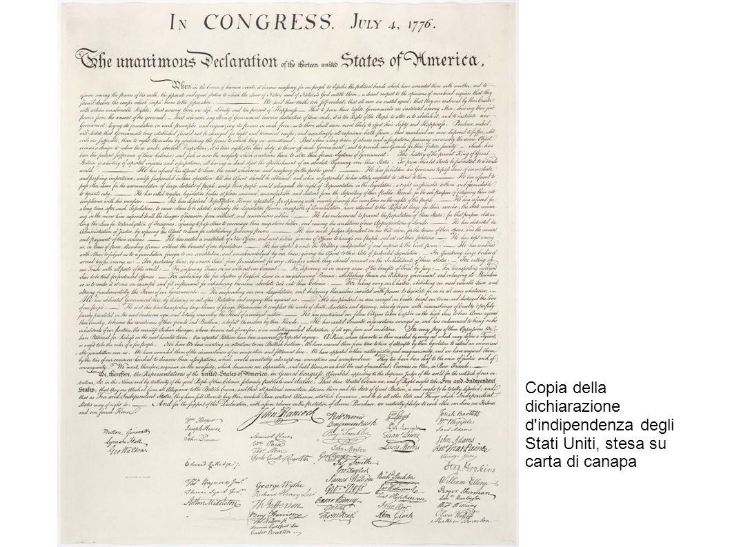 La firma della dichiarazione (incisione di Waterman Lilly Ormsby di un dipinto di John Trumbull).