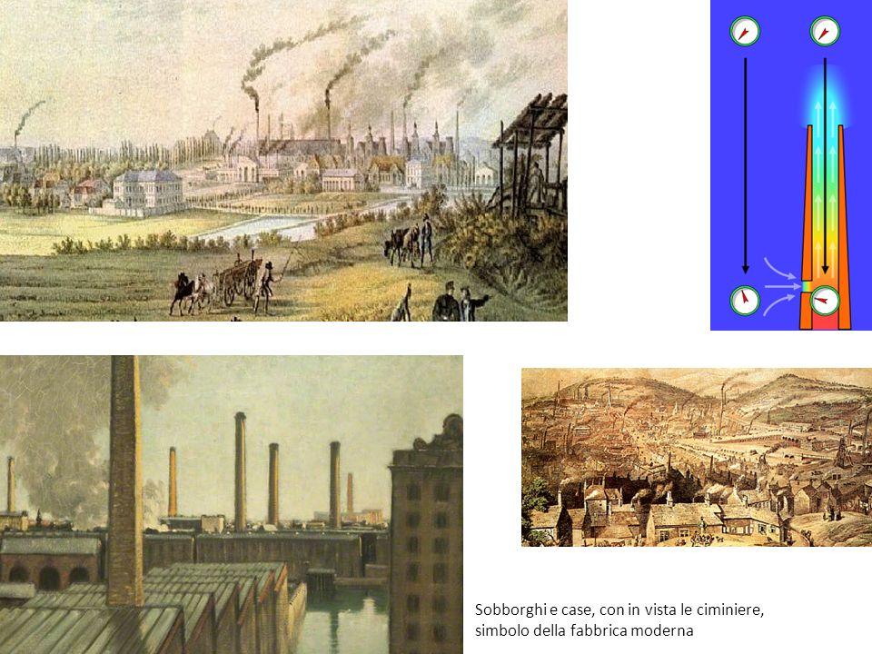 Sobborghi e case, con in vista le ciminiere, simbolo della fabbrica moderna