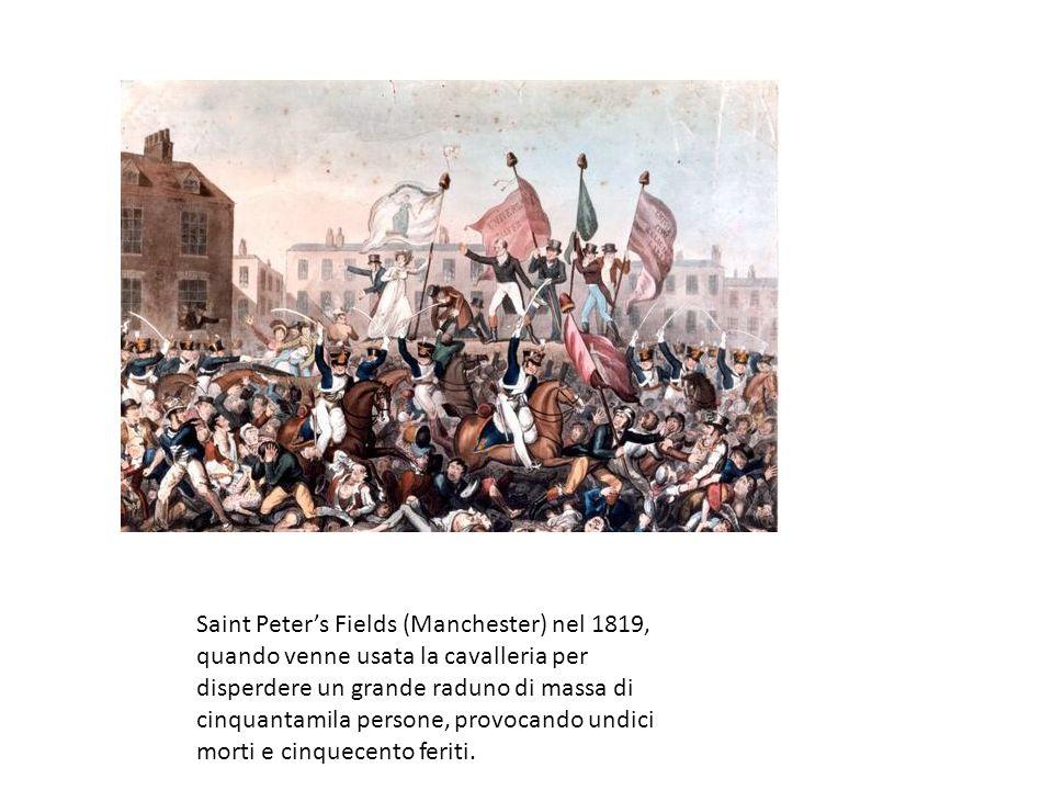 Saint Peters Fields (Manchester) nel 1819, quando venne usata la cavalleria per disperdere un grande raduno di massa di cinquantamila persone, provoca