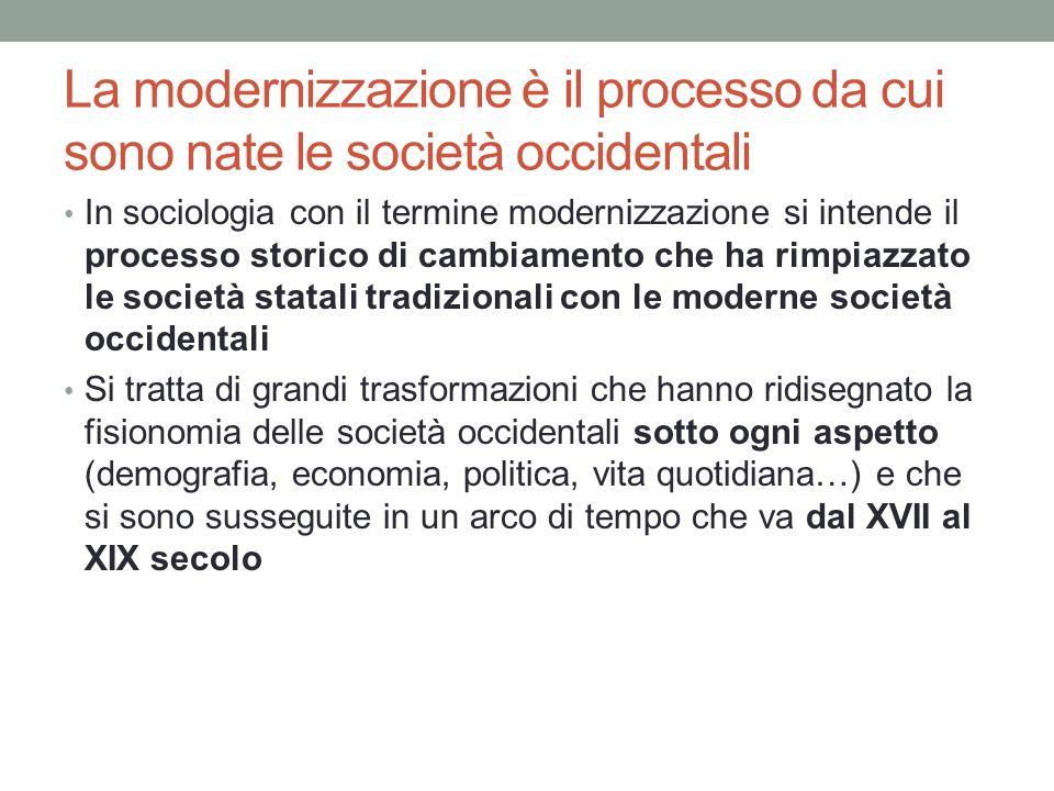 La modernizzazione è il processo da cui sono nate le società occidentali In sociologia con il termine modernizzazione si intende il processo storico d