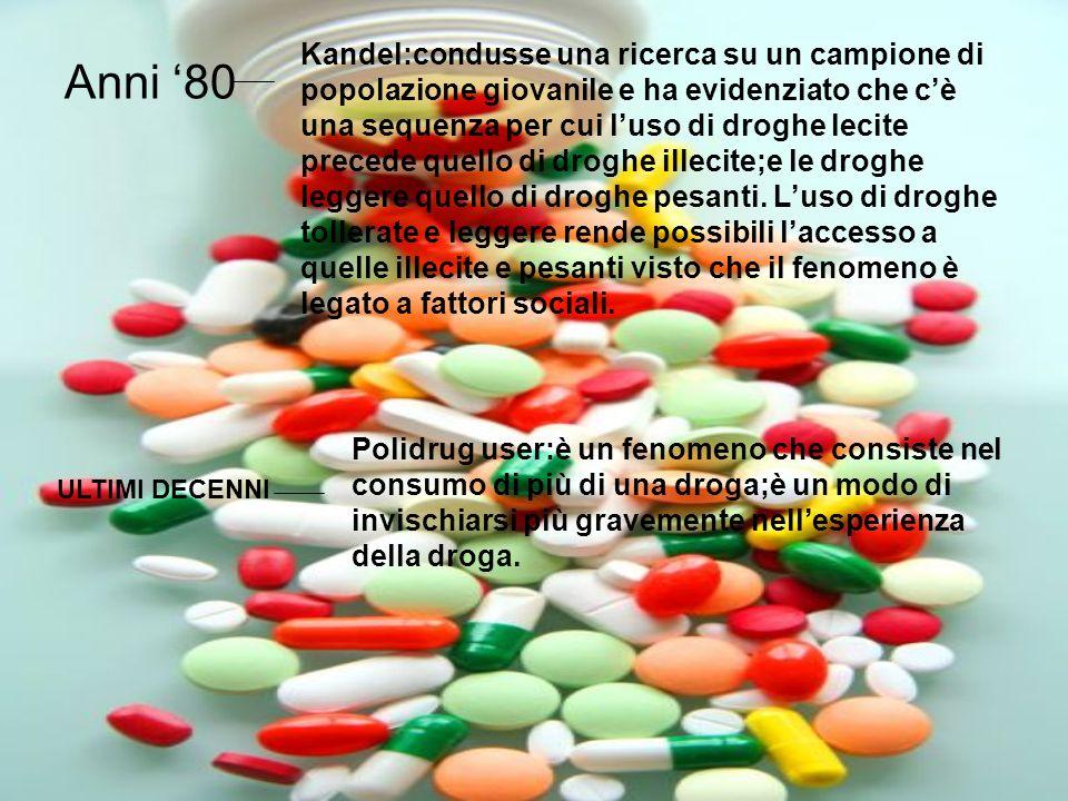 Anni 80 Kandel:condusse una ricerca su un campione di popolazione giovanile e ha evidenziato che cè una sequenza per cui luso di droghe lecite precede