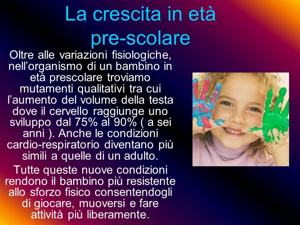 La crescita in età pre-scolare Oltre alle variazioni fisiologiche, nellorganismo di un bambino in età prescolare troviamo mutamenti qualitativi tra cu
