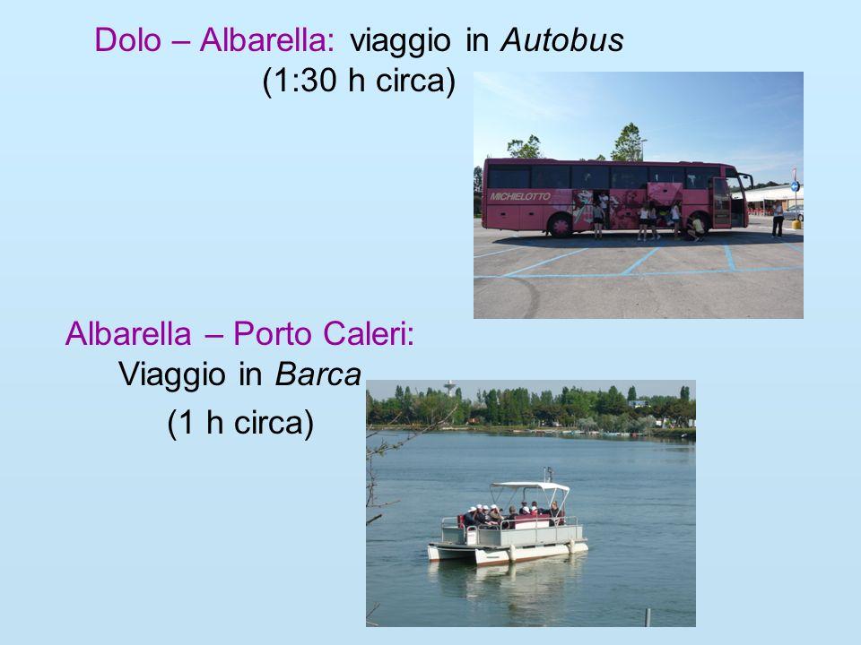 Dolo – Albarella: viaggio in Autobus (1:30 h circa) Albarella – Porto Caleri: Viaggio in Barca (1 h circa)