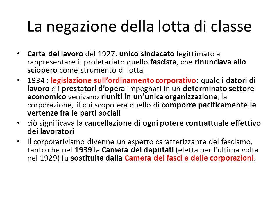 La negazione della lotta di classe Carta del lavoro del 1927: unico sindacato legittimato a rappresentare il proletariato quello fascista, che rinunci