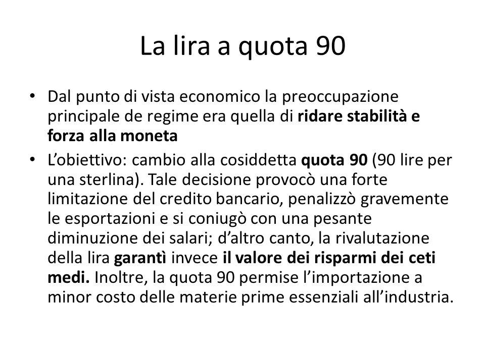 La lira a quota 90 Dal punto di vista economico la preoccupazione principale de regime era quella di ridare stabilità e forza alla moneta Lobiettivo: