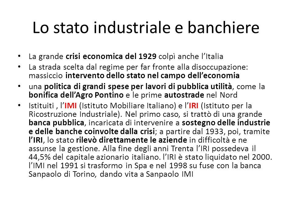 Lo stato industriale e banchiere La grande crisi economica del 1929 colpì anche lItalia La strada scelta dal regime per far fronte alla disoccupazione
