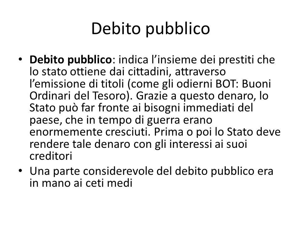 Debito pubblico Debito pubblico: indica linsieme dei prestiti che lo stato ottiene dai cittadini, attraverso lemissione di titoli (come gli odierni BO