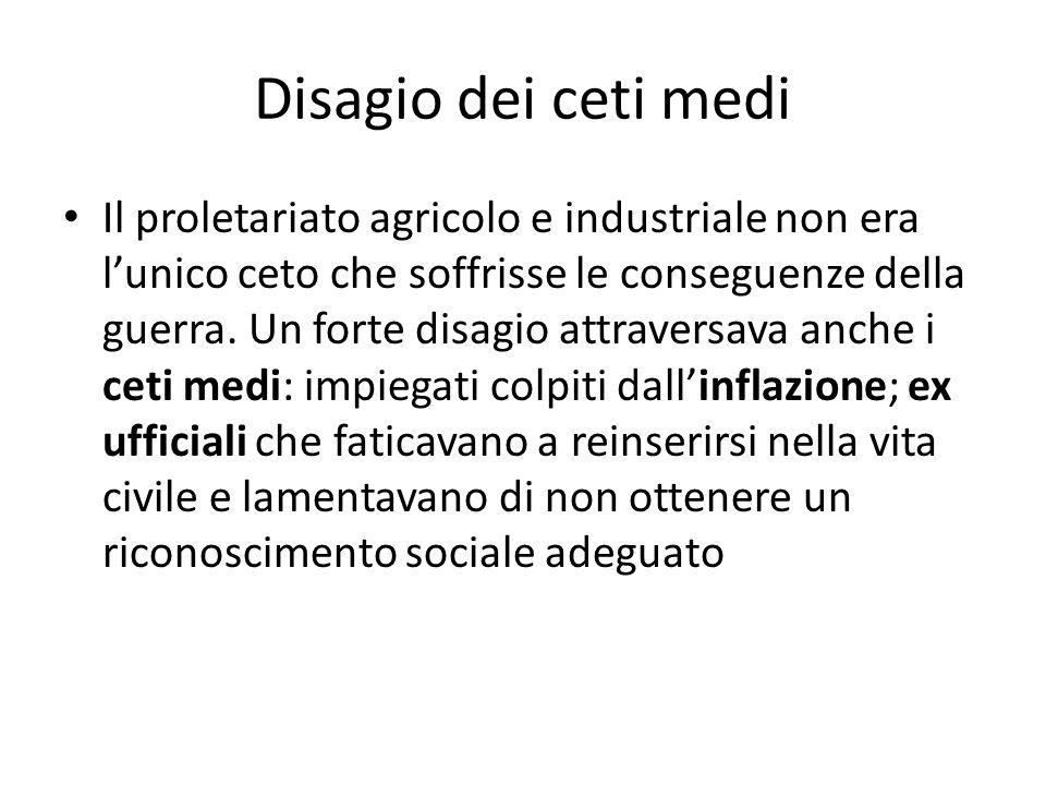 Disagio dei ceti medi Il proletariato agricolo e industriale non era lunico ceto che soffrisse le conseguenze della guerra. Un forte disagio attravers