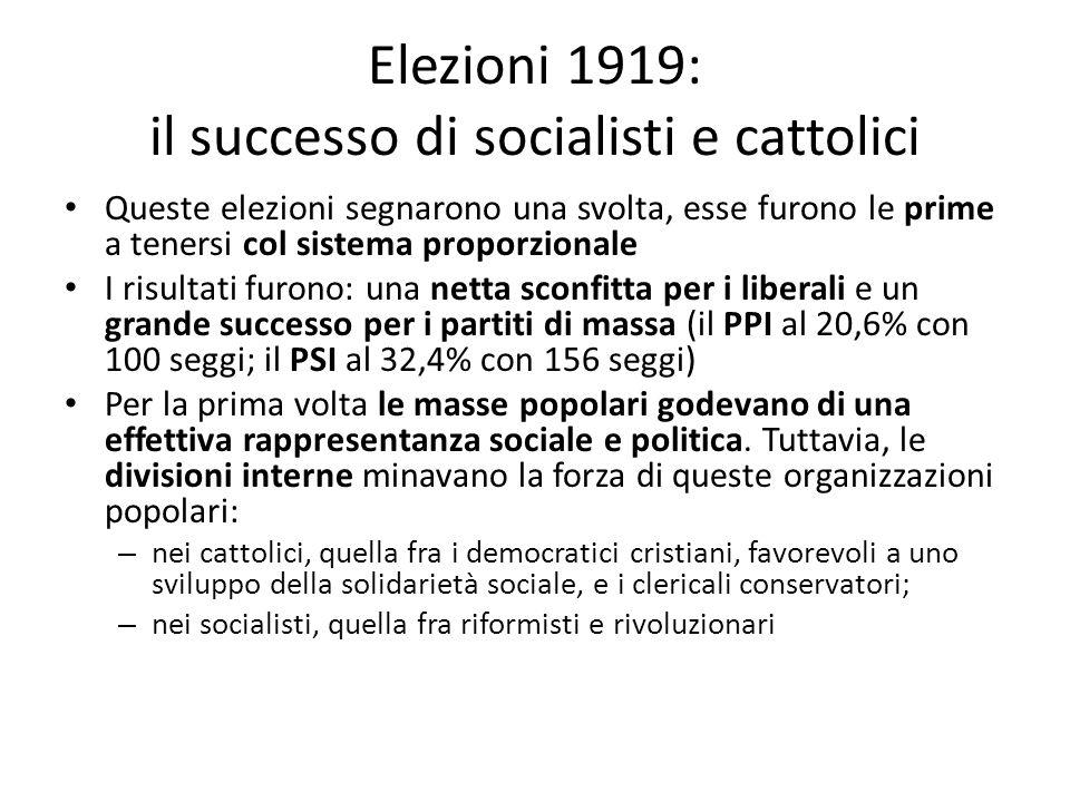 Elezioni 1919: il successo di socialisti e cattolici Queste elezioni segnarono una svolta, esse furono le prime a tenersi col sistema proporzionale I