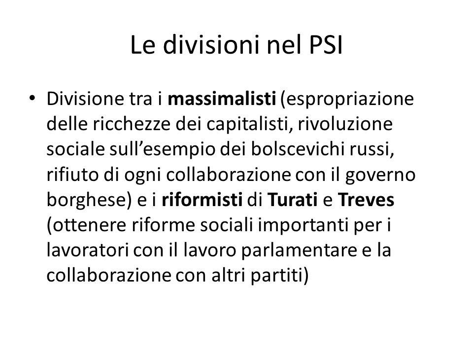 Le divisioni nel PSI Divisione tra i massimalisti (espropriazione delle ricchezze dei capitalisti, rivoluzione sociale sullesempio dei bolscevichi rus