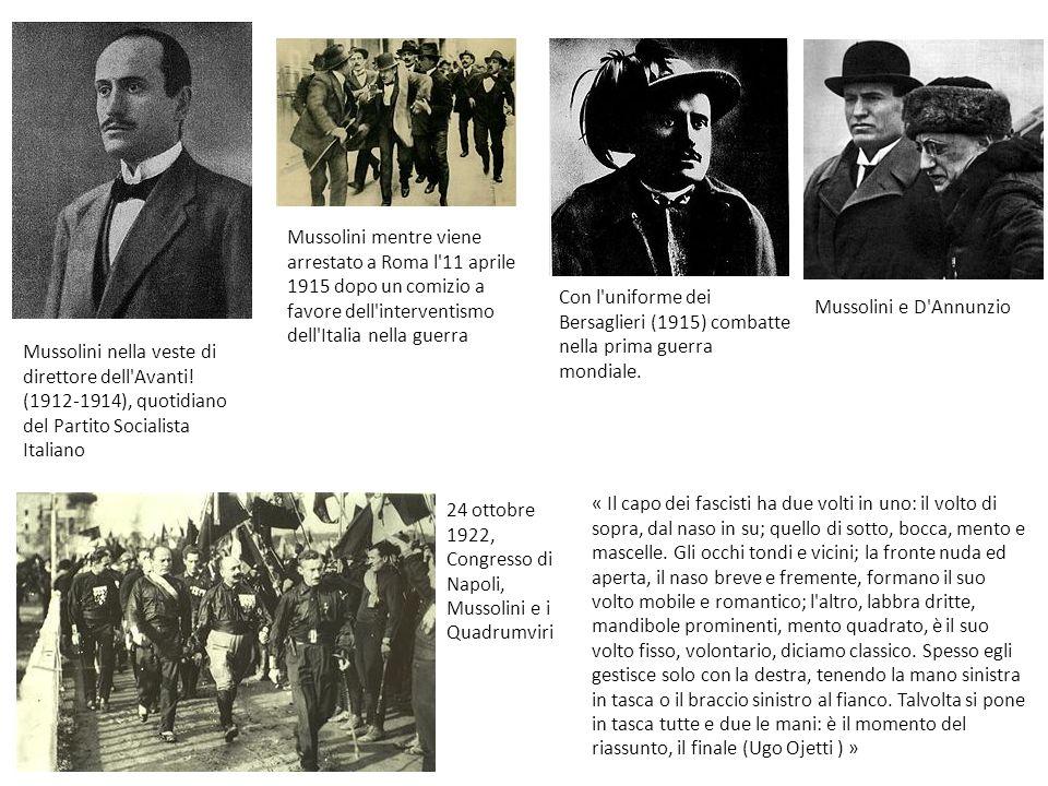 Mussolini nella veste di direttore dell'Avanti! (1912-1914), quotidiano del Partito Socialista Italiano Mussolini mentre viene arrestato a Roma l'11 a