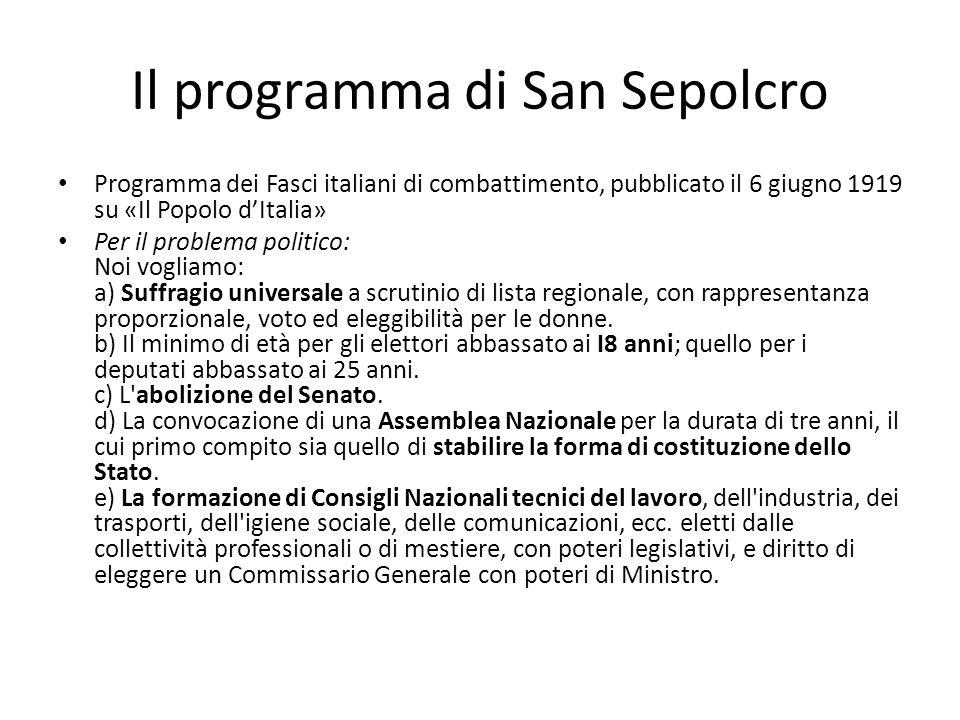 Il programma di San Sepolcro Programma dei Fasci italiani di combattimento, pubblicato il 6 giugno 1919 su «Il Popolo dItalia» Per il problema politic
