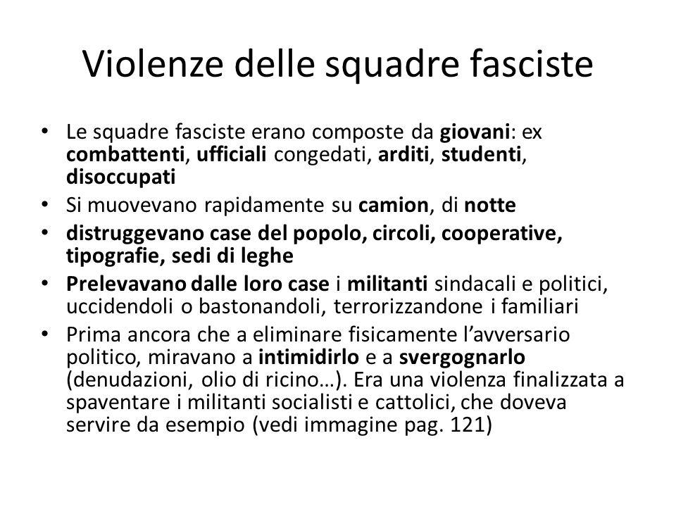 Violenze delle squadre fasciste Le squadre fasciste erano composte da giovani: ex combattenti, ufficiali congedati, arditi, studenti, disoccupati Si m