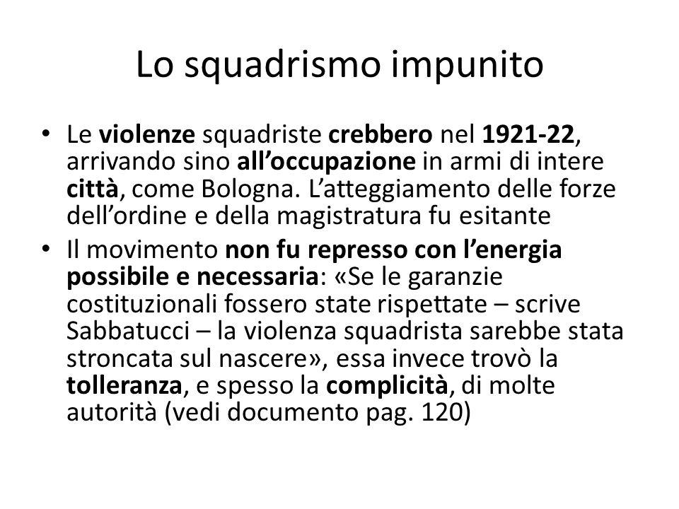 Lo squadrismo impunito Le violenze squadriste crebbero nel 1921-22, arrivando sino alloccupazione in armi di intere città, come Bologna. Latteggiament