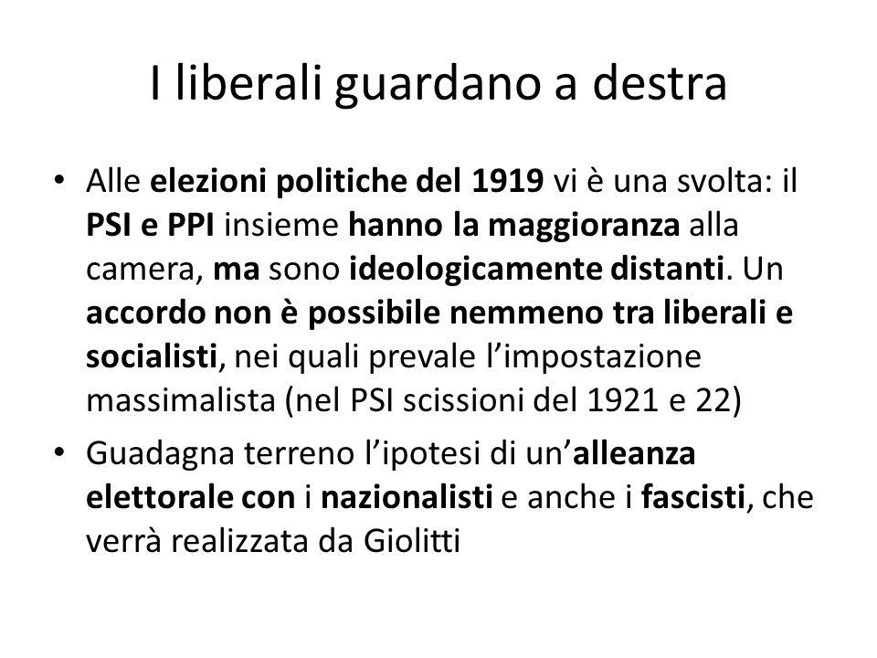 I liberali guardano a destra Alle elezioni politiche del 1919 vi è una svolta: il PSI e PPI insieme hanno la maggioranza alla camera, ma sono ideologi