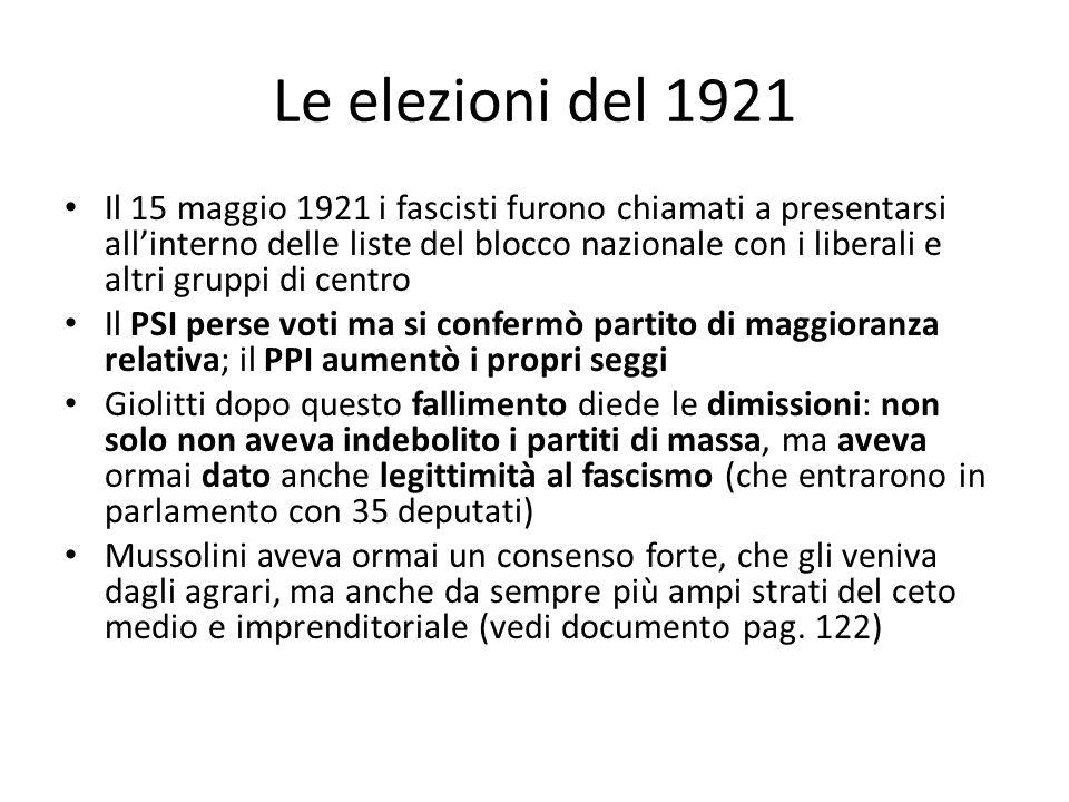 Le elezioni del 1921 Il 15 maggio 1921 i fascisti furono chiamati a presentarsi allinterno delle liste del blocco nazionale con i liberali e altri gru