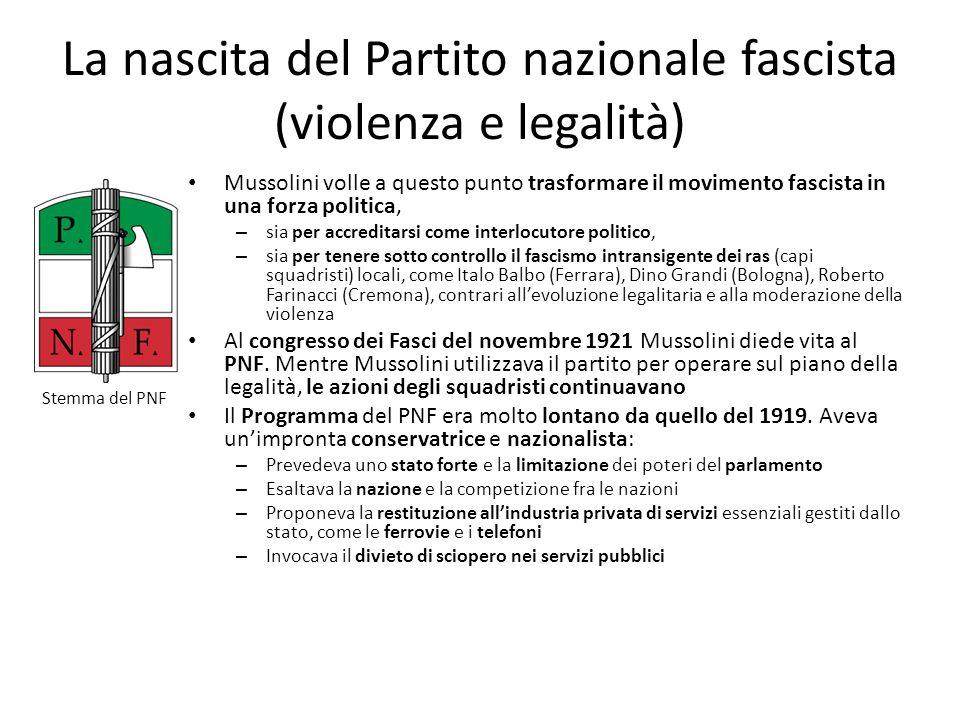 La nascita del Partito nazionale fascista (violenza e legalità) Mussolini volle a questo punto trasformare il movimento fascista in una forza politica
