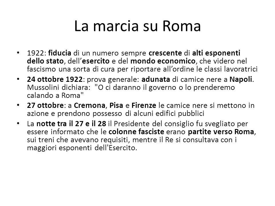 La marcia su Roma 1922: fiducia di un numero sempre crescente di alti esponenti dello stato, dellesercito e del mondo economico, che videro nel fascis