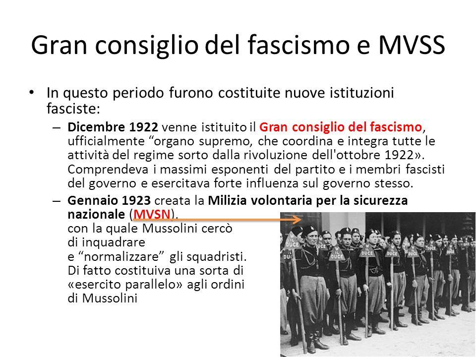 Gran consiglio del fascismo e MVSS In questo periodo furono costituite nuove istituzioni fasciste: – Dicembre 1922 venne istituito il Gran consiglio d