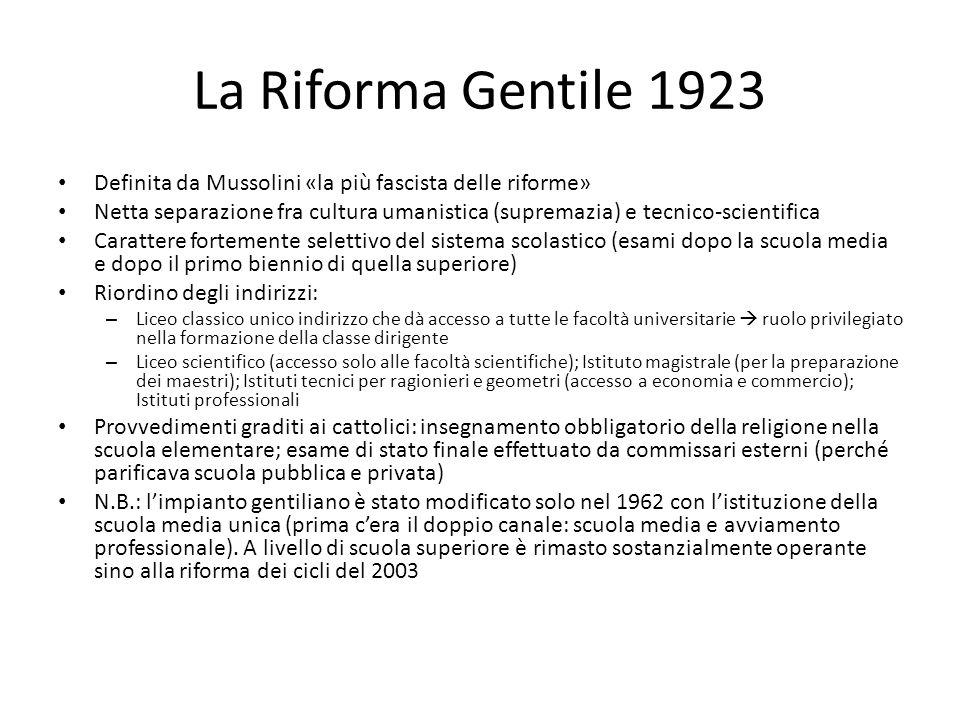 La Riforma Gentile 1923 Definita da Mussolini «la più fascista delle riforme» Netta separazione fra cultura umanistica (supremazia) e tecnico-scientif