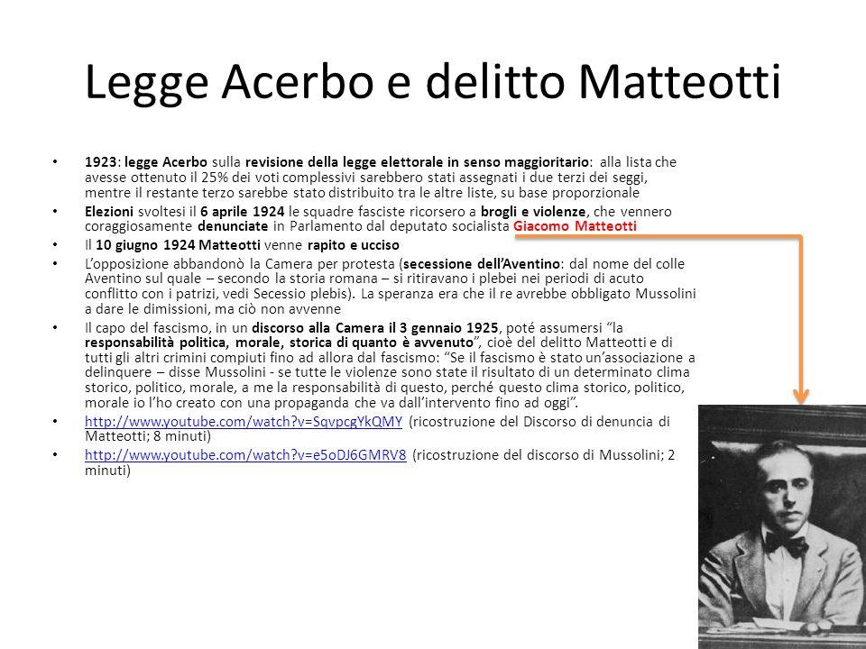 Legge Acerbo e delitto Matteotti 1923: legge Acerbo sulla revisione della legge elettorale in senso maggioritario: alla lista che avesse ottenuto il 2