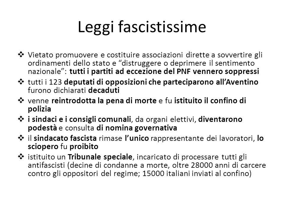 Leggi fascistissime Vietato promuovere e costituire associazioni dirette a sovvertire gli ordinamenti dello stato e distruggere o deprimere il sentime