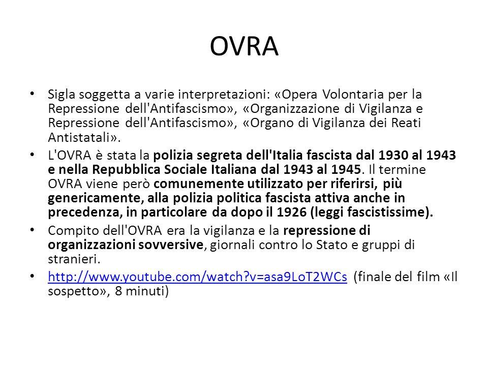 OVRA Sigla soggetta a varie interpretazioni: «Opera Volontaria per la Repressione dell'Antifascismo», «Organizzazione di Vigilanza e Repressione dell'
