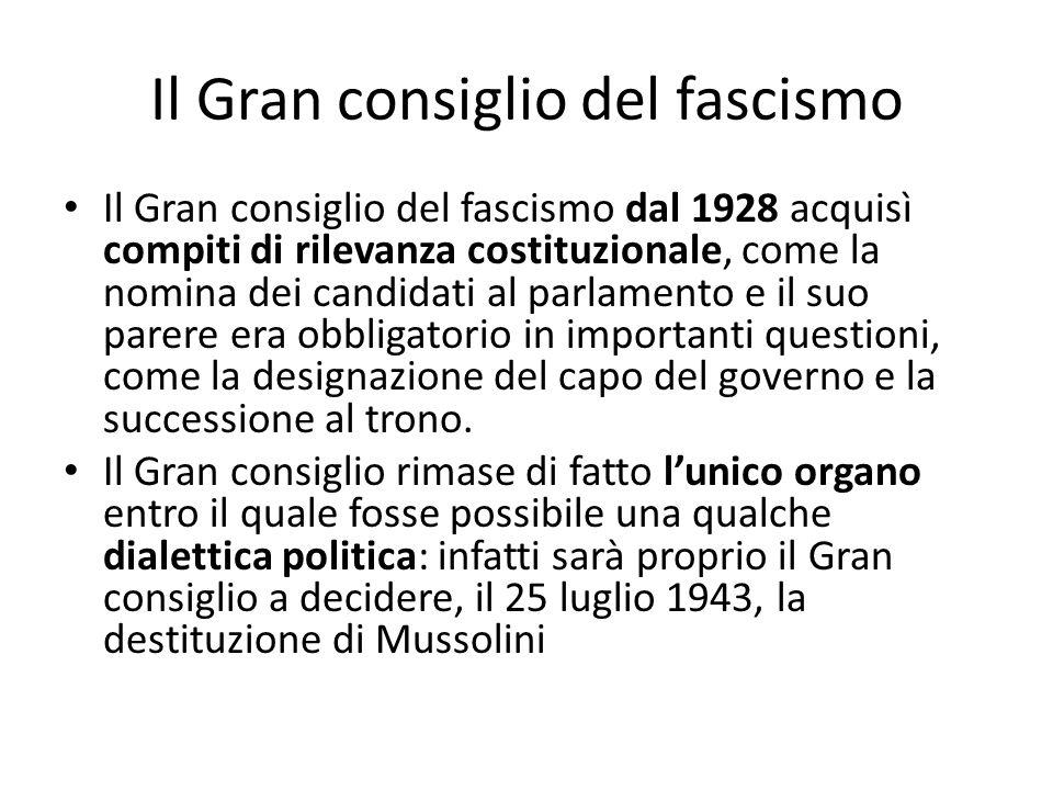Il Gran consiglio del fascismo Il Gran consiglio del fascismo dal 1928 acquisì compiti di rilevanza costituzionale, come la nomina dei candidati al pa