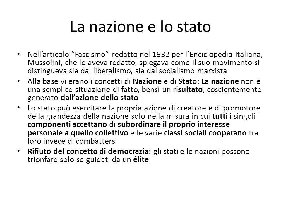 La nazione e lo stato Nellarticolo Fascismo redatto nel 1932 per lEnciclopedia Italiana, Mussolini, che lo aveva redatto, spiegava come il suo movimen