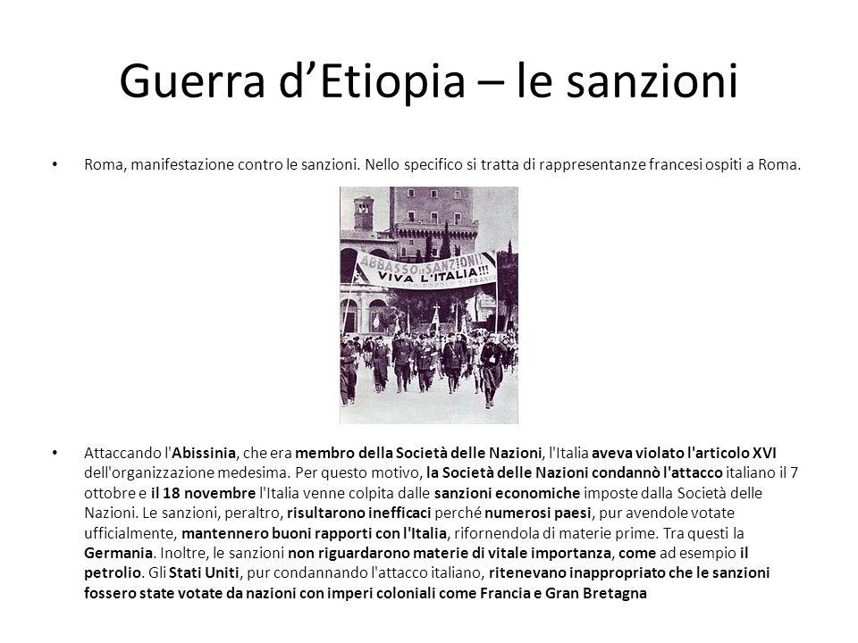 Guerra dEtiopia – le sanzioni Roma, manifestazione contro le sanzioni. Nello specifico si tratta di rappresentanze francesi ospiti a Roma. Attaccando