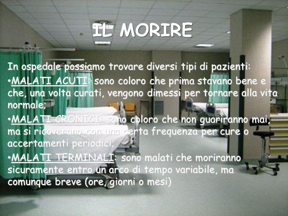 IL MORIRE In ospedale possiamo trovare diversi tipi di pazienti: MALATI ACUTI: sono coloro che prima stavano bene e che, una volta curati, vengono dim