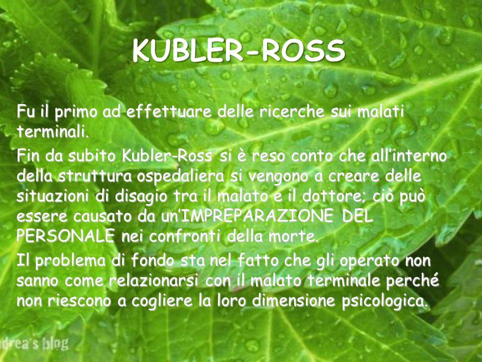 KUBLER-ROSS Fu il primo ad effettuare delle ricerche sui malati terminali. Fin da subito Kubler-Ross si è reso conto che allinterno della struttura os